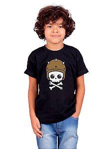 Camiseta Infantil Caveira Motoqueira Preta