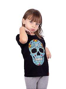 Camiseta Infantil Caveira Mexicana Preta