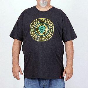 Camiseta Plus Size Cerveja Brewery Preta Jaguar.