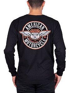 Camiseta Manga Longa Moto American Preta.
