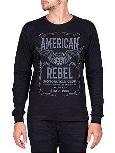 Camiseta Manga Longa Moto American Rebel Preta.