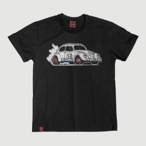 Camiseta Juvenil Fusca Herbie Turbo Preta.