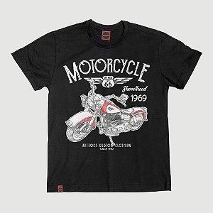 Camiseta Juvenil Moto Shovelhead Preta.