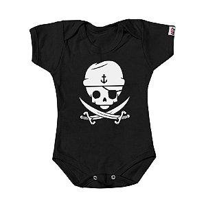Body Bebê Caveirinha Pirata Preto