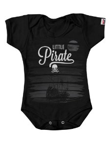 Body Bebê Pequeno Pirata Preto