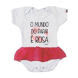 Body Bebê Com Saia Mundo Rosa