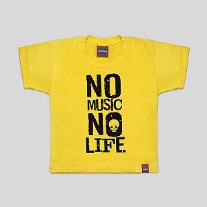 Camiseta Infantil No Music Amarela