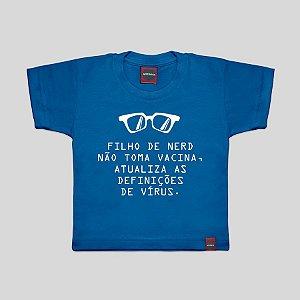 Camiseta Infantil Filho de Nerd Azul Royal