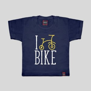 Camiseta Infantil I Love Bike Marinho