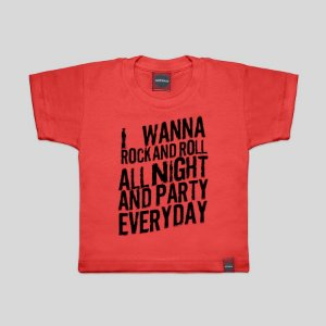Camiseta Infantil Rock All Night Vermelha