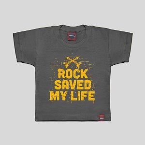 Camiseta Infantil Rock Salva Cinza Chumbo