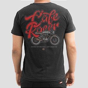 Camiseta Moto Cafe Racer Preta Jaguar.