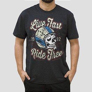 Camiseta Moto Live Fast Preta Jaguar.