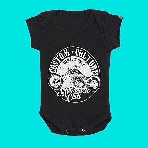 Body Bebê Moto Members Preto