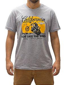Camiseta Moto California Cinza Mescla.