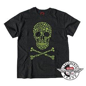 Camiseta Plus Size Caveira Bicicleta Preta Jaguar.