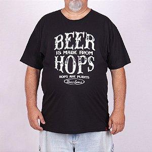 Camiseta Plus Size Cerveja Hops Preta.