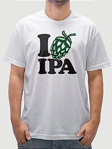 Camiseta Cerveja Love Ipa Branca.