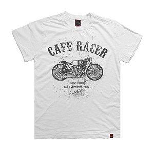 Camiseta Juvenil Moto Cafe Racer Branca.