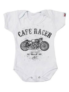 Body Bebê Moto Cafe Racer Branca
