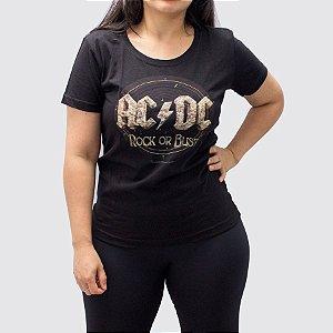 Camiseta Feminina ACDC Rock Or Dust Preta