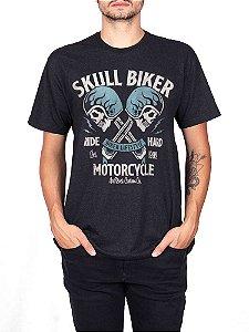 Camiseta Moto Skull Biker Preta Jaguar.