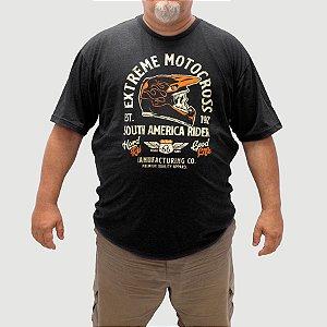 Camiseta Plus Size Motocross Preta Jaguar.