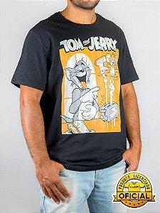 Camiseta Tom e Jerry Torradeira Preta