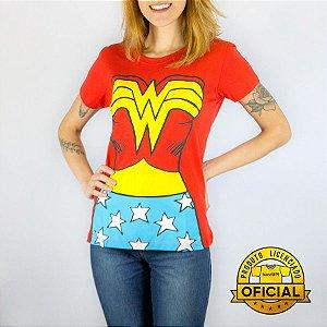 Camiseta Feminina DC Mulher Maravilha Body Vermelha