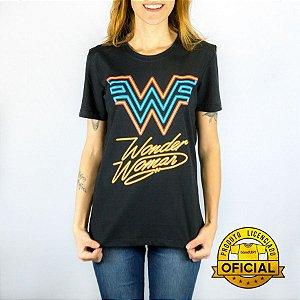 Camiseta Feminina DC Mulher Maravilha Logo Neon Preta