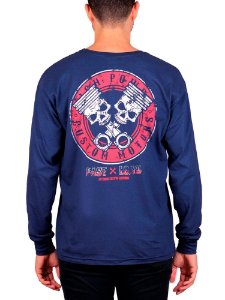 Camiseta Manga Longa Piston Skull Marinho.