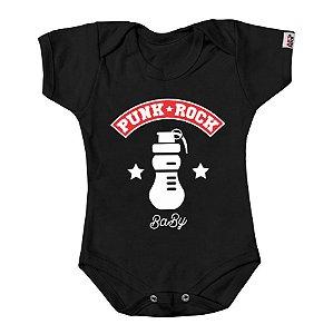 Body Bebê Punk Rock Preto