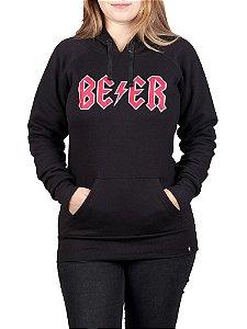 Moletom Canguru Feminino Cerveja Beer Rain Preto