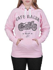 Moletom Canguru Feminino Cafe Racer Rosa