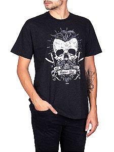 Camiseta Beard Skull Preta Jaguar.