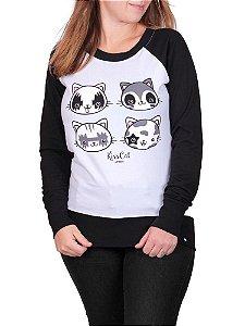 Moletinho Feminino Kiss Cat Raglan Branco