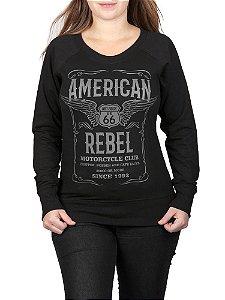 Moletinho Feminino Moto American Rebel Raglan Preto