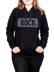 Moletom Canguru Feminino Rock Preto