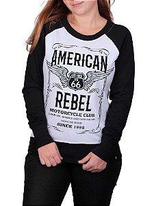 Moletinho Feminino Moto American Rebel Raglan Branco
