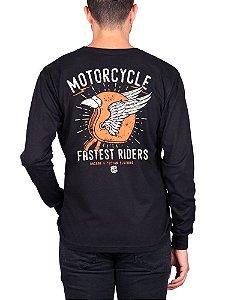 Camiseta Manga Longa Moto Fastest Preta.