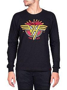 Camiseta Manga Longa Van Halen Preta.