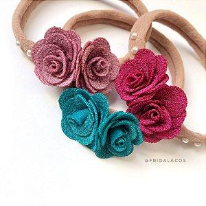 Headband Floral Média (Faixinha nude/Unidade)