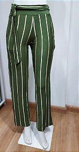 Calça Pantalona Listrada Verde com Bolso.