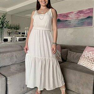Vestido longo de alça em viscose, com elástico. Na cor branca