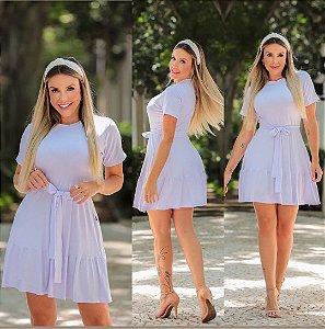 Vestido camadas em malha com cinto. Na cor branca