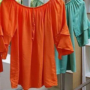 Blusa bata em viscose com elástico. Na cor Coral.  Tamanho G1 veste 46-48