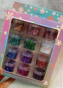 Glitter Flocado Decoração Unhas Fan Nails 12 unidades