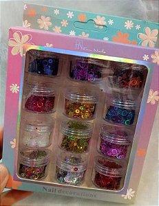 Glitter Bolinha Vazado Decoração Unhas Fan Nails 12 unidades