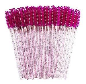 Escovinha para Cílios Descartável Glitter Pink 50 unid.