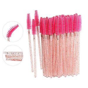 Escovinha para Cílios Descartável Glitter Rosa 50 unid.